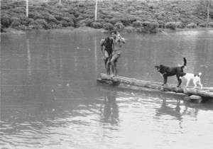 Hoagy & Flicka at the West Holyrood dam. c.1957